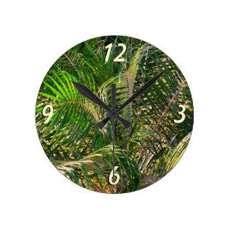 Sunset Lit Palm Fronds Round Clock