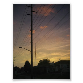 Sunset Louisville Ky and Telephone Pole Poster