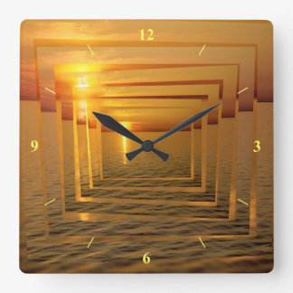 Sunset Madness Square Wall Clock