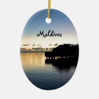 Sunset Maldives Beach House Boat Oval Christmas Ornament