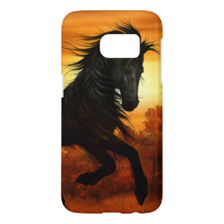 Sunset Meadow with Black Stallion Horse