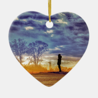 Sunset Meditation Ceramic Heart Decoration
