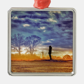 Sunset Meditation Silver-Colored Square Decoration