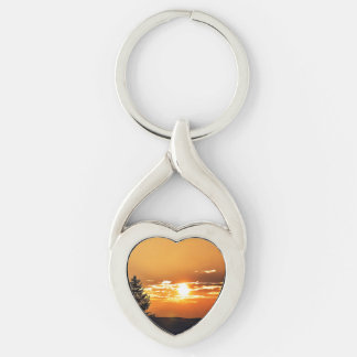 Sunset Silver-Colored Heart-Shaped Metal Keychain