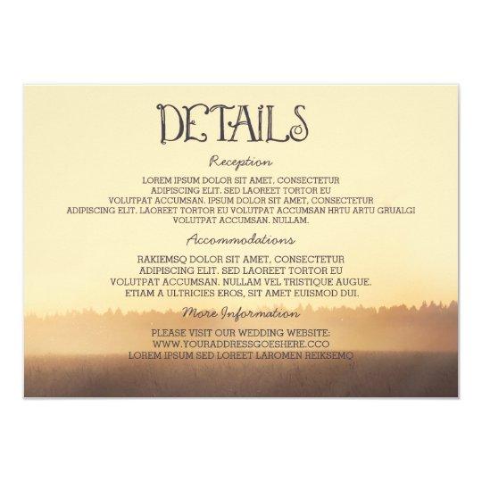 Sunset Misty Evening Wedding Guest Information Card