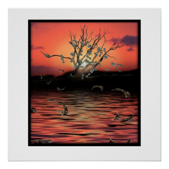 Sunset Money Tree on a Windy Day Poster