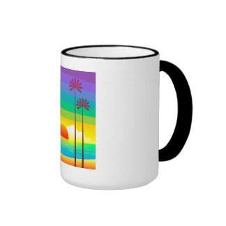 Sunset Mug,Sunrise,Abstract,Colourful,Coffee Cup Ringer Mug