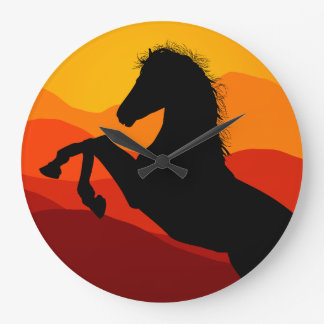 Sunset Mustang Silhouette Large Clock