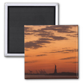 """Sunset New York Harbor and Statue of Liberty"" Magnets"