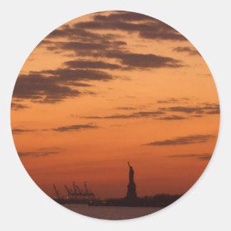 Sunset New York Harbor and Statue of Liberty USA Classic Round Sticker