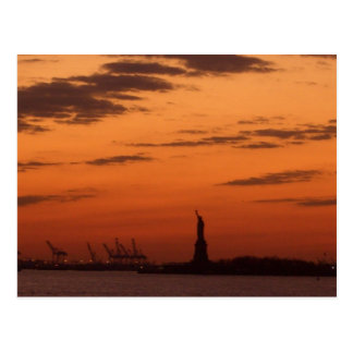 Sunset New York Harbor and Statue of Liberty USA Postcard