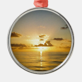 Sunset North of Bermuda Silver-Colored Round Decoration