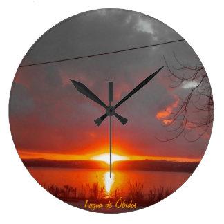 Sunset Óbidos Lagoon Wall Clocks