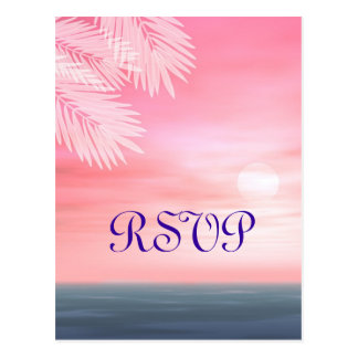 Sunset Ocean Beach Theme Wedding RSVP Postcard