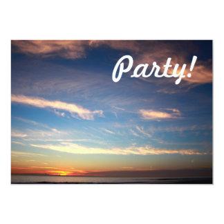 Sunset Ocean Blue 13 Cm X 18 Cm Invitation Card
