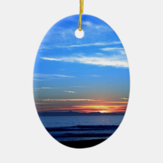 Sunset Ocean Blue Christmas Ornament