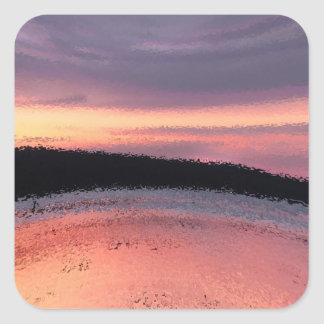 Sunset Ocean Waves Abstract Square Sticker