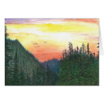 Sunset of Oregon forest Greeting Card