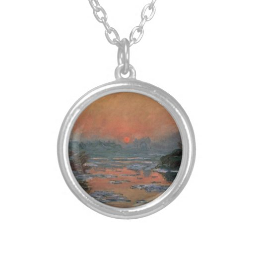 Sunset of the Seine river of winter Necklaces