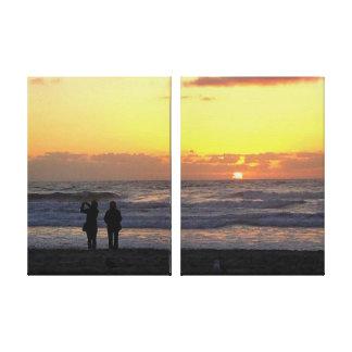 SUNSET ON  A CALIFORNIA BEACH canvas Gallery Wrap Canvas
