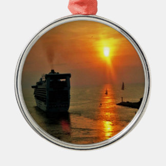Sunset on  a Cruise Ship Christmas Ornament