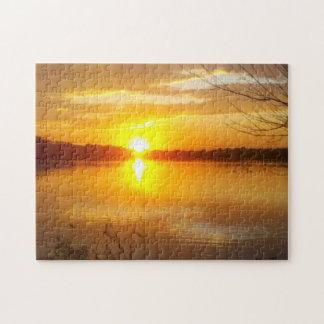 Sunset On A Lake Jigsaw Puzzle