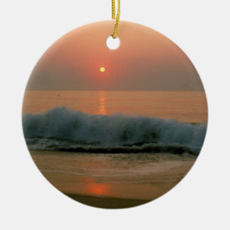 Sunset on a N. Carolina Beach Christmas Ornament