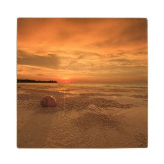 Sunset On A Thai Beach Wood Coaster