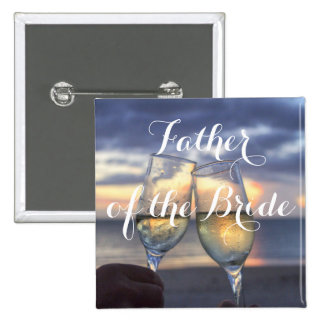 Sunset On Beach Father of the Bride Wedding Button