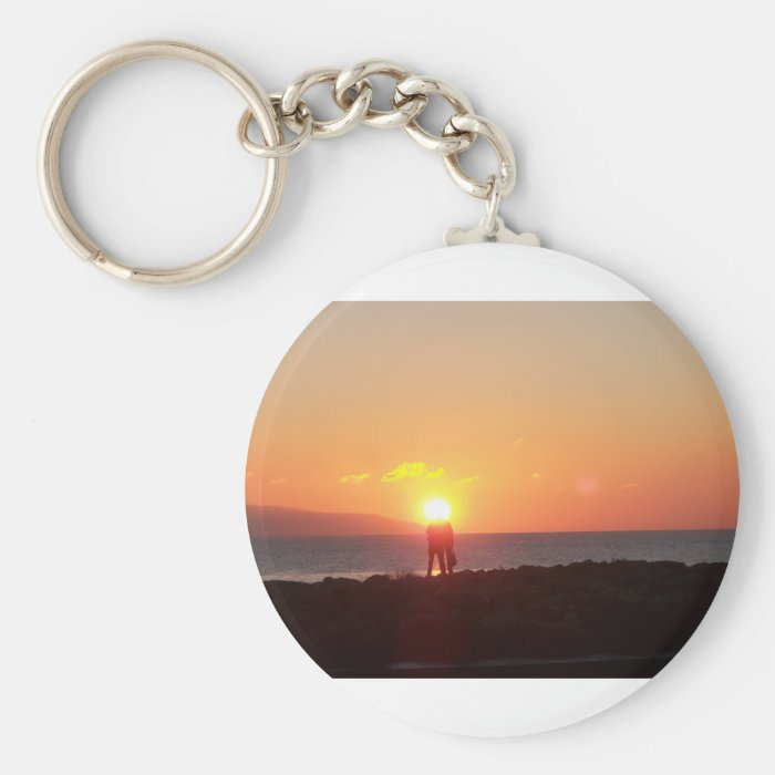 Sunset on Galway Bay Basic Round Button Key Ring