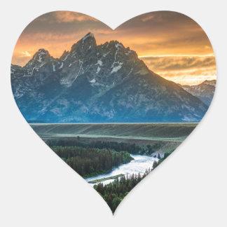 Sunset On Grand Teton And Snake River Heart Sticker