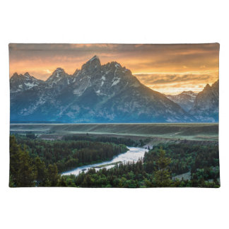 Sunset On Grand Teton And Snake River Placemat