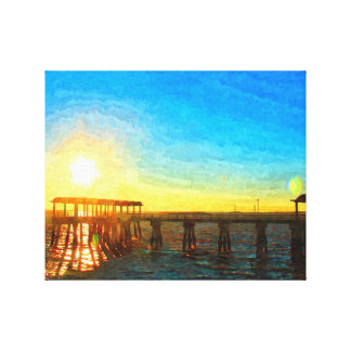 Sunset on Jekyll Island, Georgia Oil Painting Gallery Wrapped Canvas