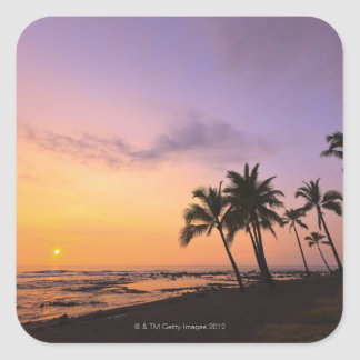 Sunset on Kahaluu Bay in Kona,Hawaii 2 Square Sticker