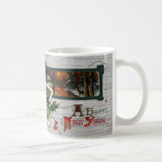 Sunset on Lake, Deer and Holly Vintage New Year Coffee Mug