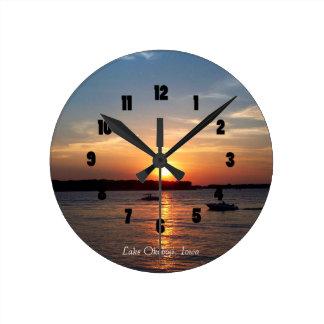 Sunset on Lake Okoboji, Iowa Round Clock