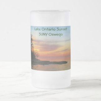 Sunset on Lake Ontario Frosted Glass Beer Mug