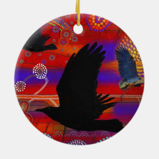 Sunset on Lake Wendouree Australian Aboriginal Art Christmas Ornament