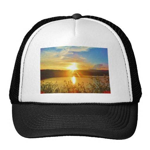 Sunset on mountain Lake Arrowhead Mesh Hat