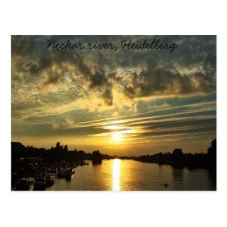 Sunset on Neckar river, Heidelberg Postcard