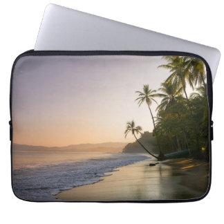 Sunset On Palm Fringed Beach, Costa Rica Laptop Sleeve