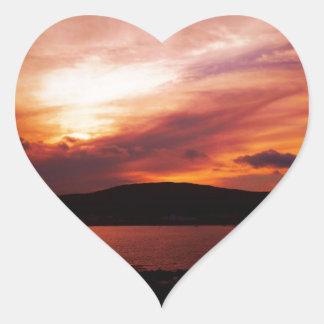 Sunset On Renews River Heart Sticker