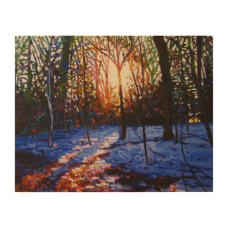Sunset on snow 2010 wood canvases