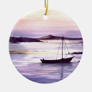 Sunset on the bay christmas ornament