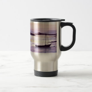 Sunset on the bay travel mug