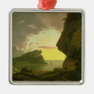 Sunset on the Coast near Naples, c.1785-90 Silver-Colored Square Decoration