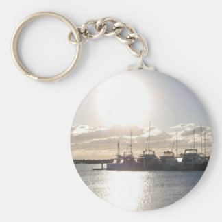 Sunset on the Indian Ocean Basic Round Button Key Ring