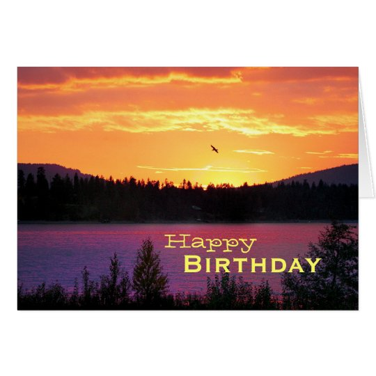 Sunset On The Lake, Happy Birthday Card
