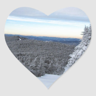 Sunset on the Mountain Heart Sticker