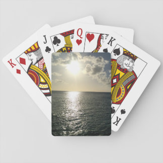 sunset on the ocean playing cards